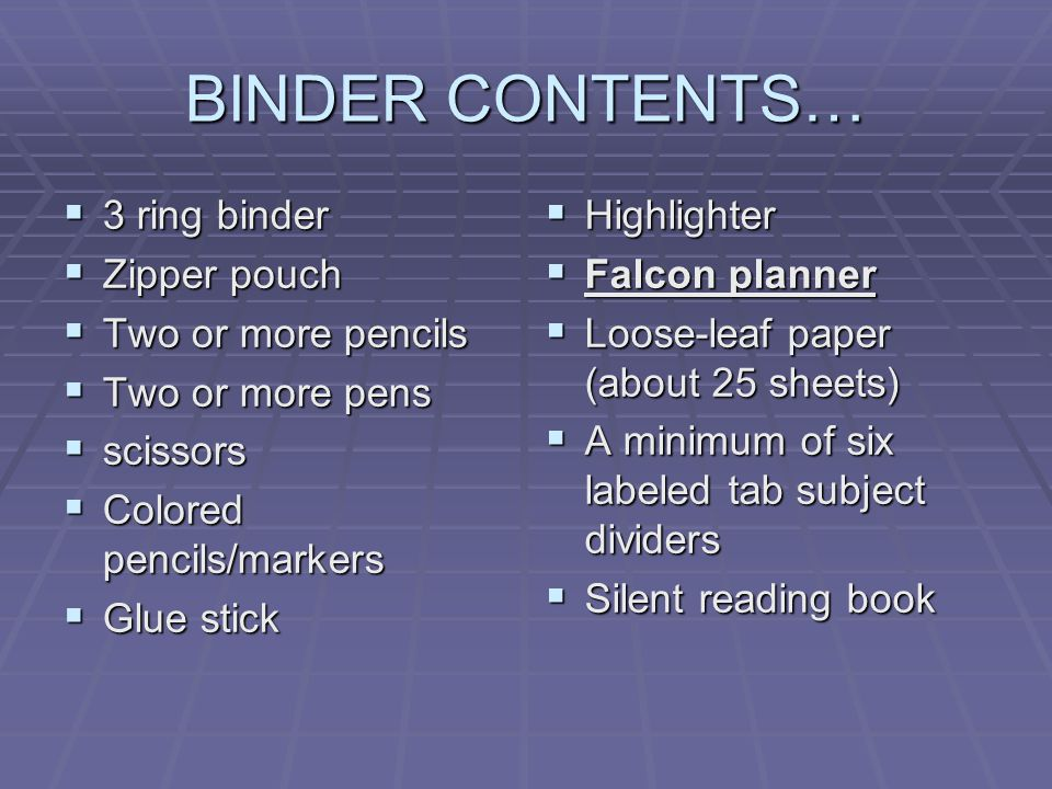 BINDER CONTENTS… 3 ring binder Zipper pouch Two or more pencils