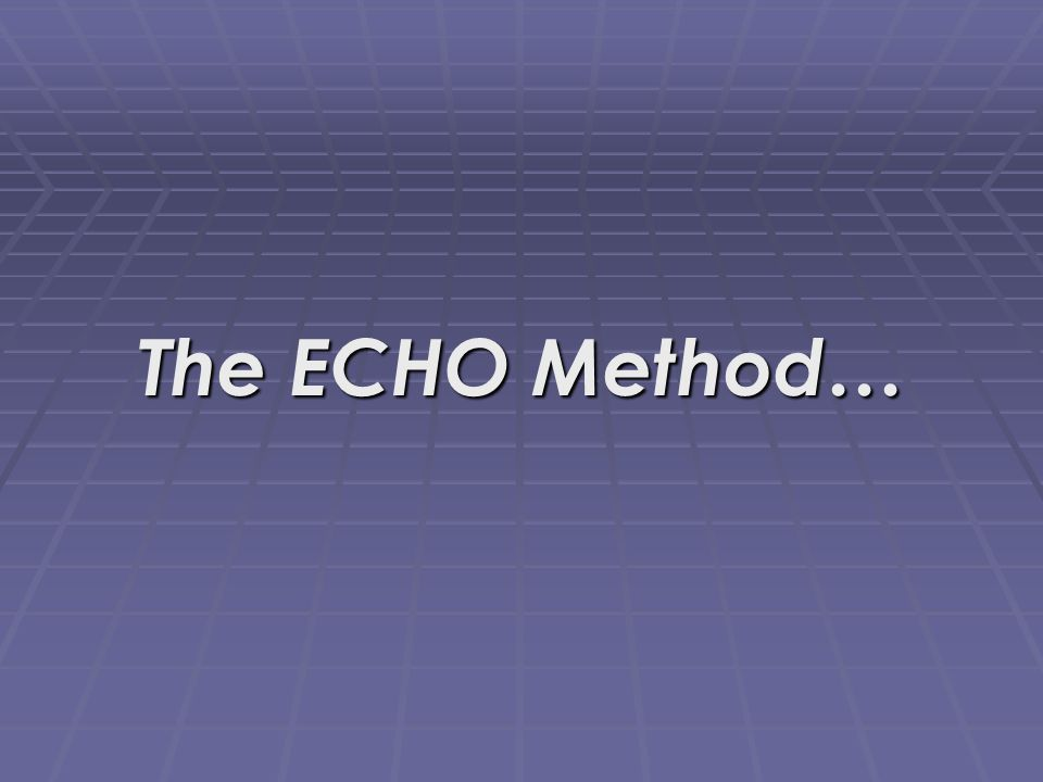 The ECHO Method…