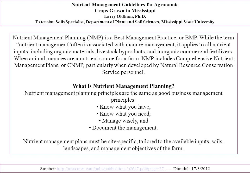 What is Nutrient Management Planning