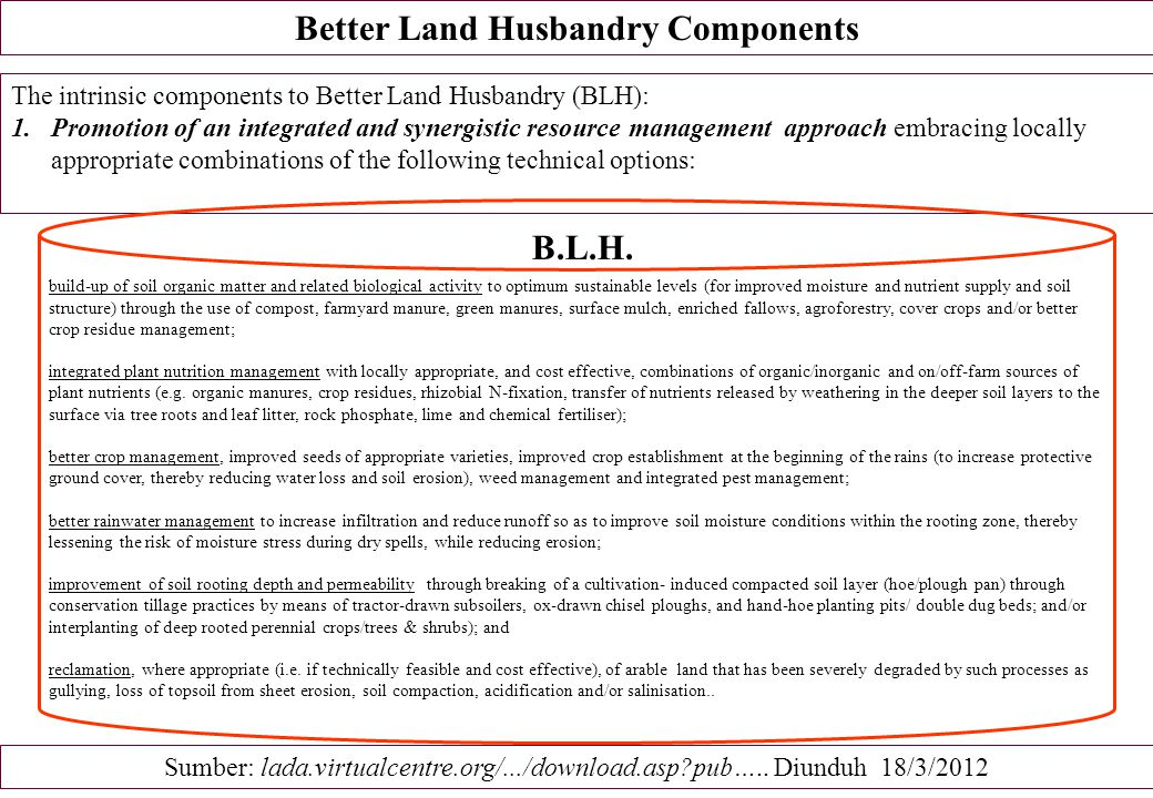 Better Land Husbandry Components
