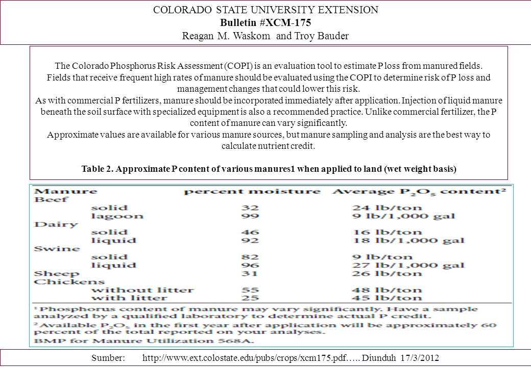 COLORADO STATE UNIVERSITY EXTENSION Bulletin #XCM-175