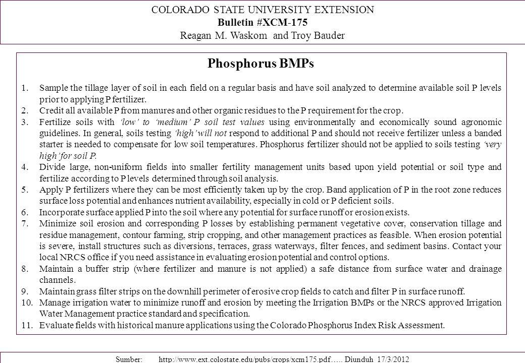 Phosphorus BMPs COLORADO STATE UNIVERSITY EXTENSION Bulletin #XCM-175