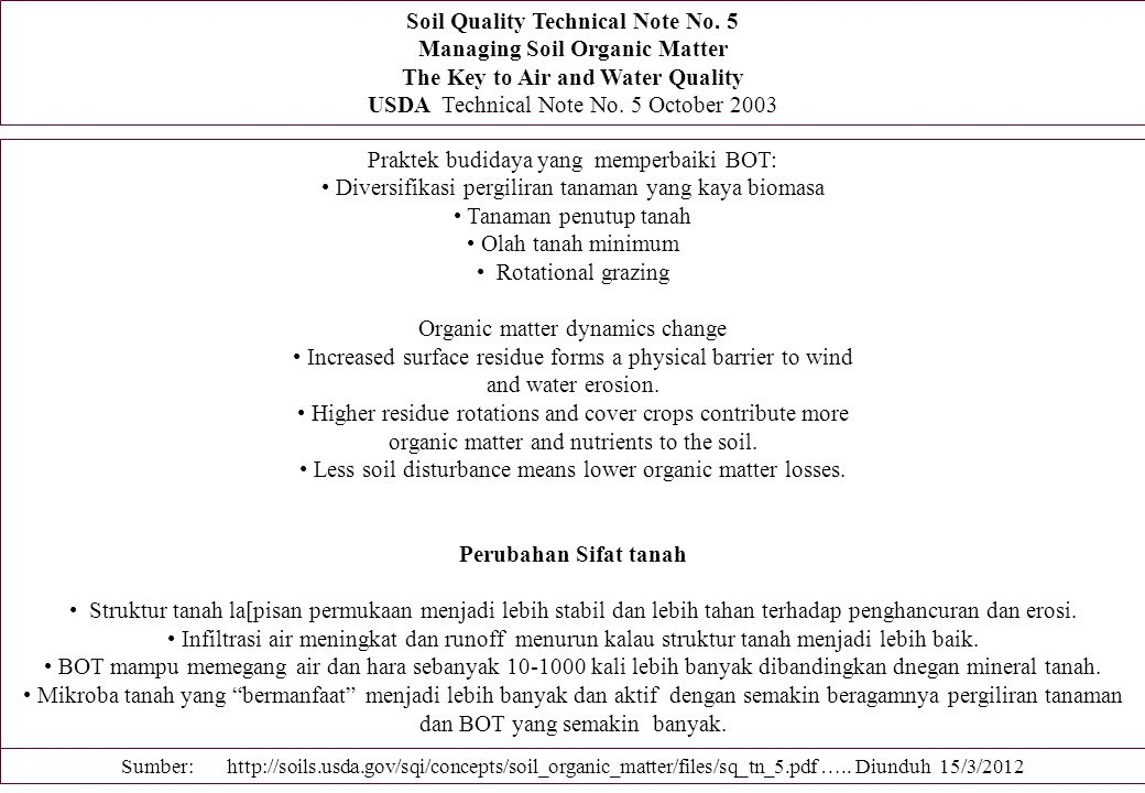 Soil Quality Technical Note No. 5 Managing Soil Organic Matter