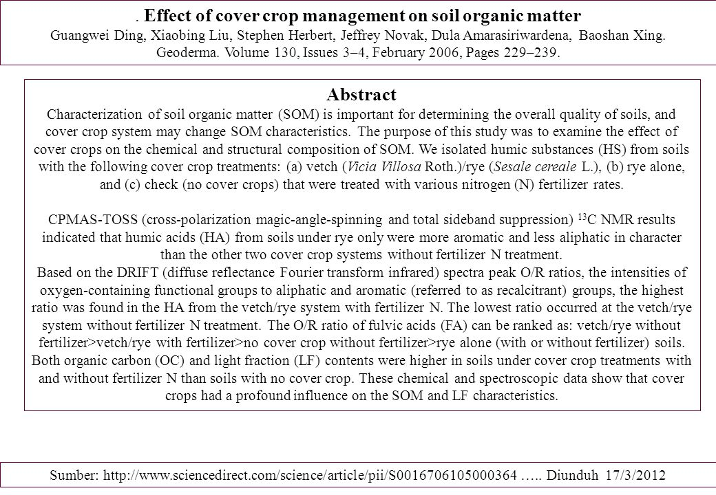 . Effect of cover crop management on soil organic matter