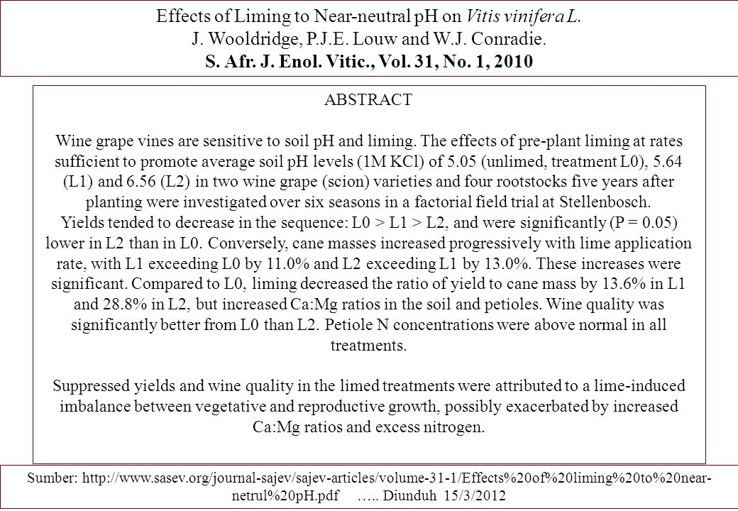 Effects of Liming to Near-neutral pH on Vitis vinifera L.