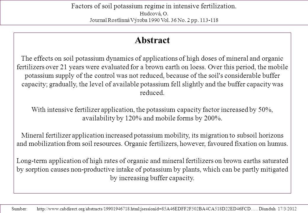 Abstract Factors of soil potassium regime in intensive fertilization.