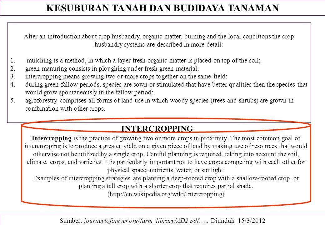 KESUBURAN TANAH DAN BUDIDAYA TANAMAN