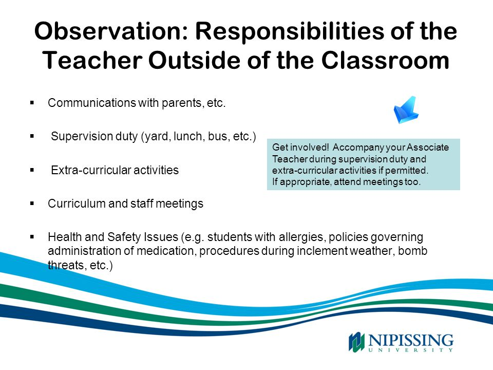 Observation: Responsibilities of the Teacher Outside of the Classroom