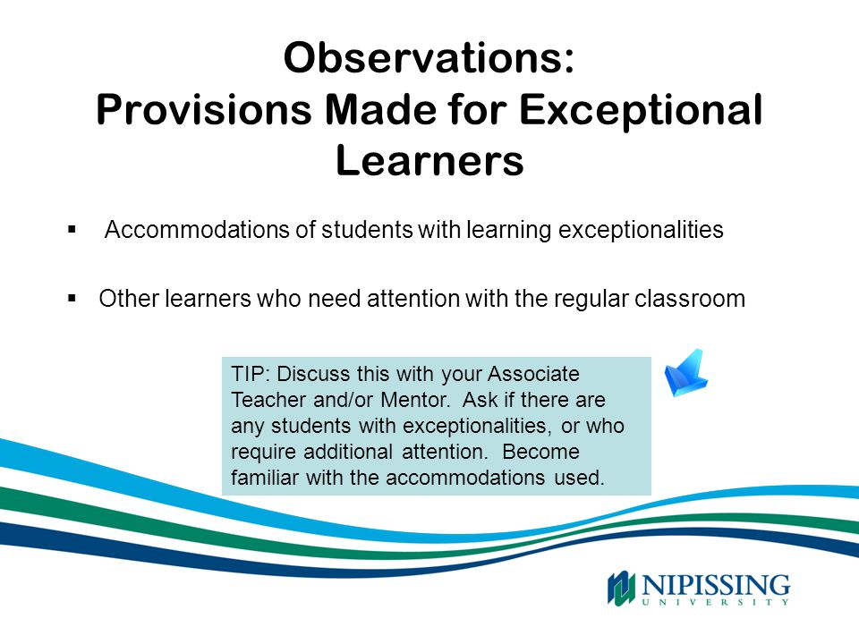 Observations: Provisions Made for Exceptional Learners