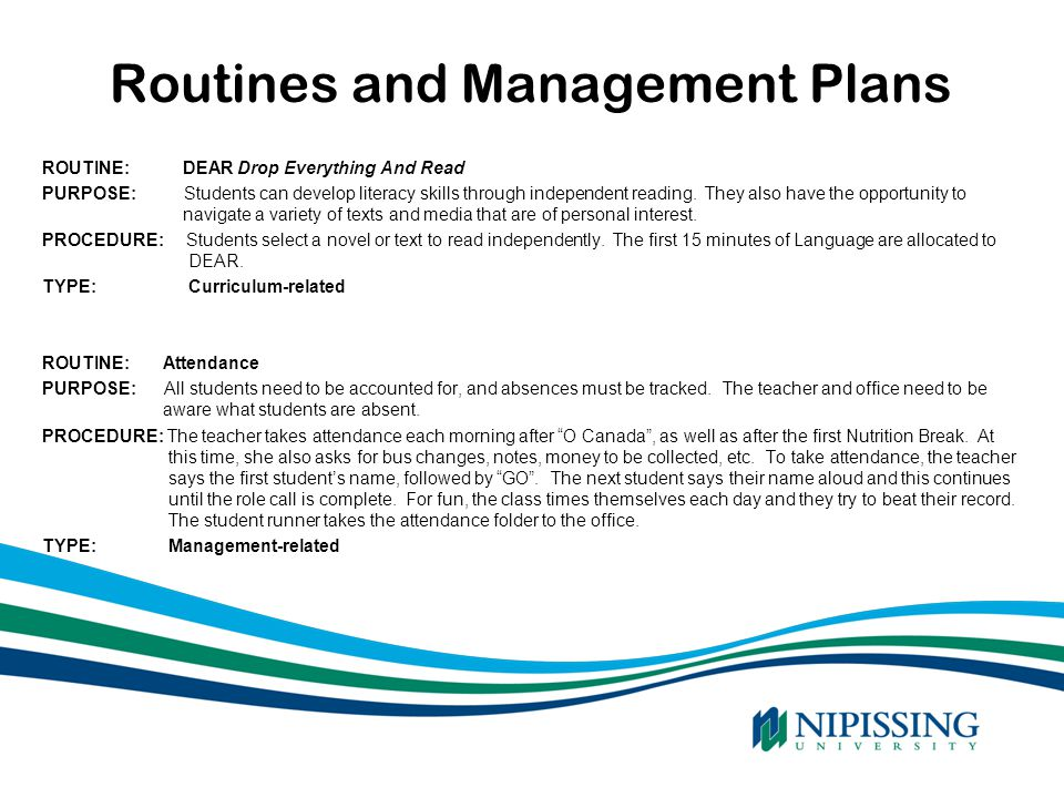 Routines and Management Plans