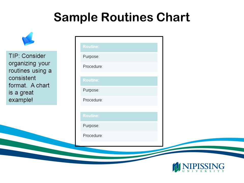 Sample Routines Chart Routine: Purpose: Procedure: TIP: Consider organizing your routines using a consistent format. A chart is a great example!