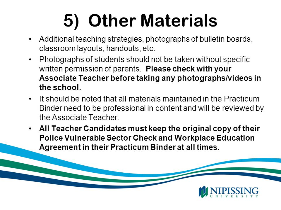 5) Other Materials Additional teaching strategies, photographs of bulletin boards, classroom layouts, handouts, etc.