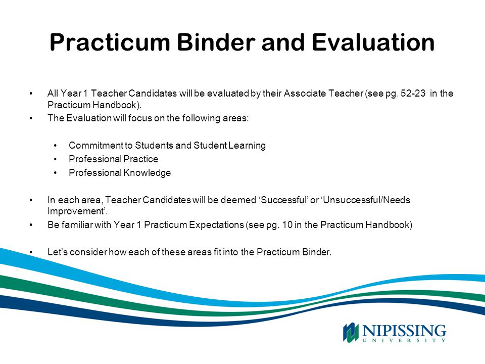 Practicum Binder and Evaluation