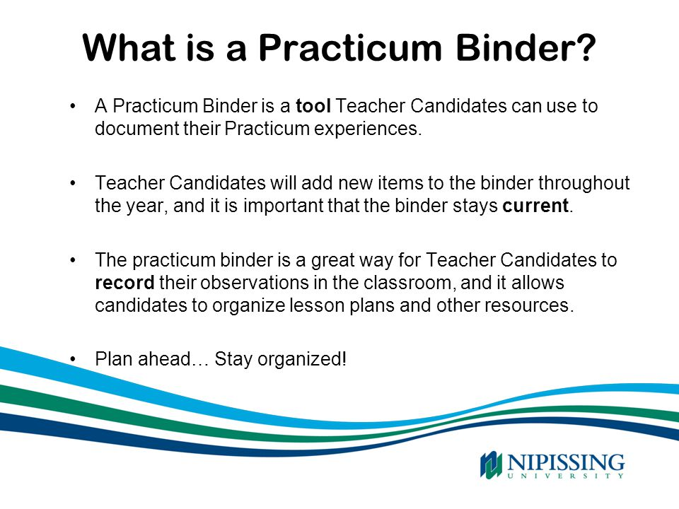 What is a Practicum Binder