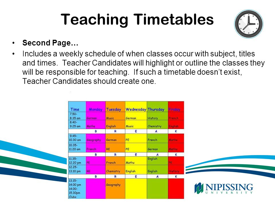 Teaching Timetables Second Page…