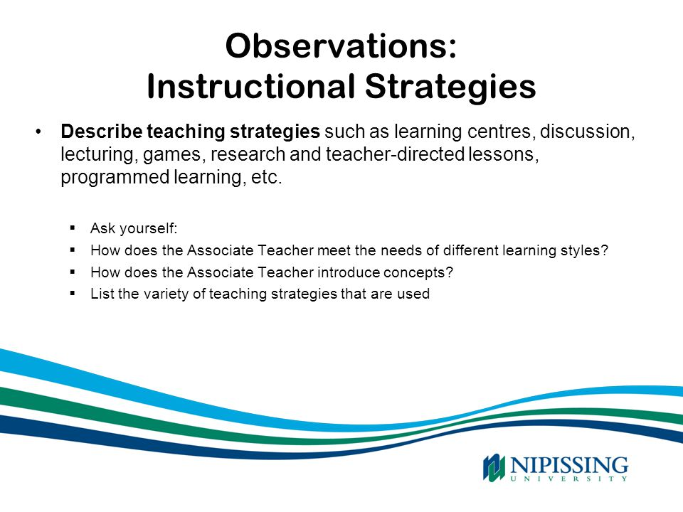 Observations: Instructional Strategies