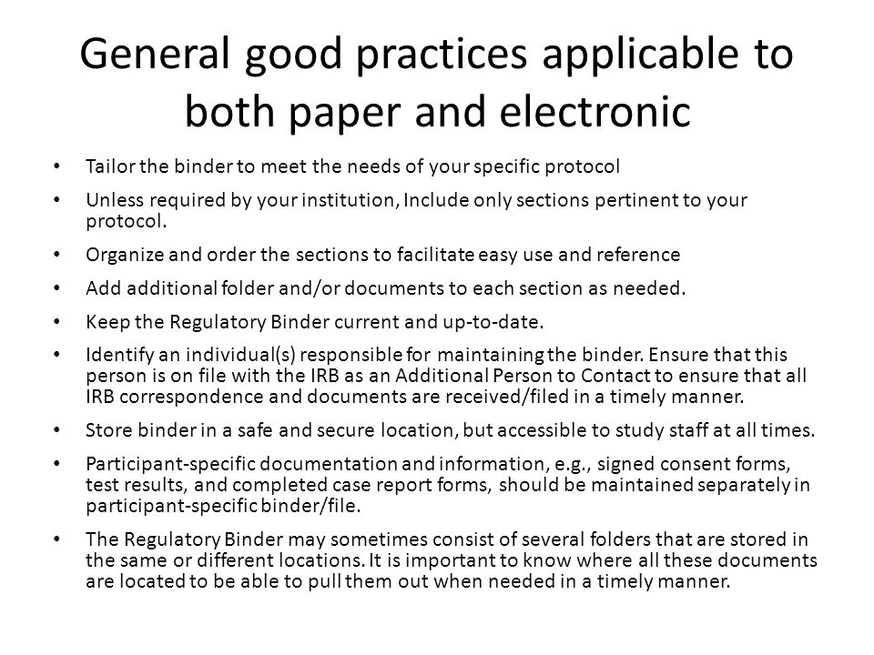 General good practices applicable to both paper and electronic