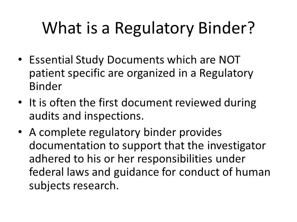 What is a Regulatory Binder