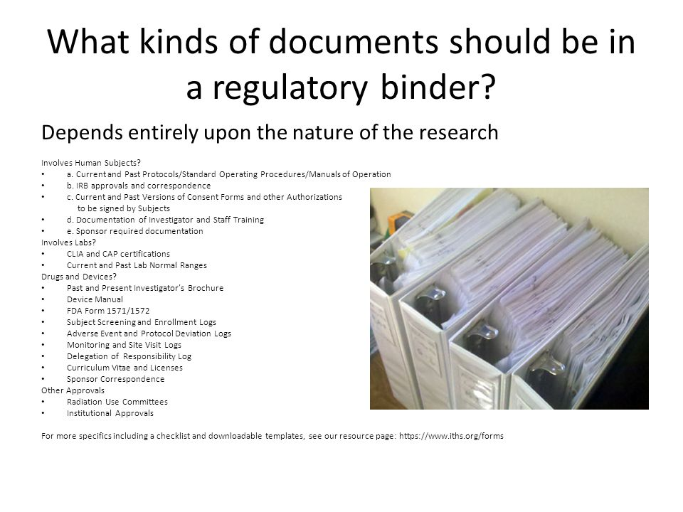 What kinds of documents should be in a regulatory binder