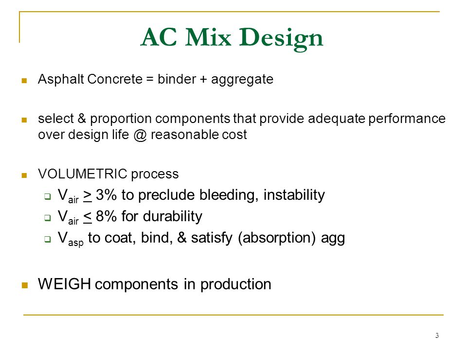 AC Mix Design WEIGH components in production