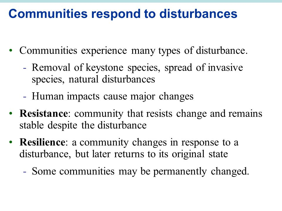Communities respond to disturbances