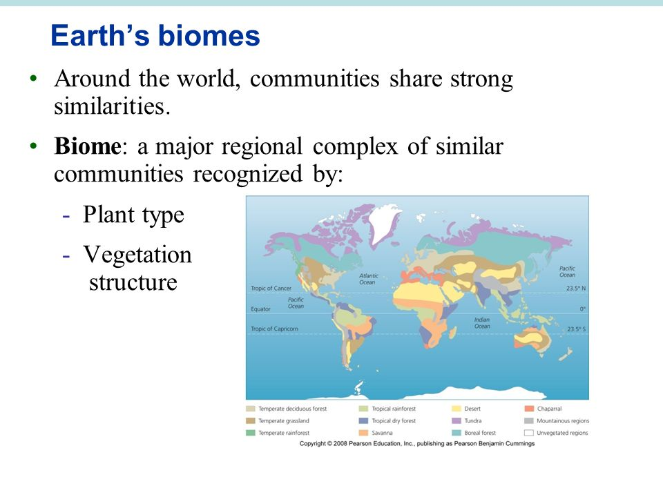 Earth's biomes Around the world, communities share strong similarities. Biome: a major regional complex of similar communities recognized by: