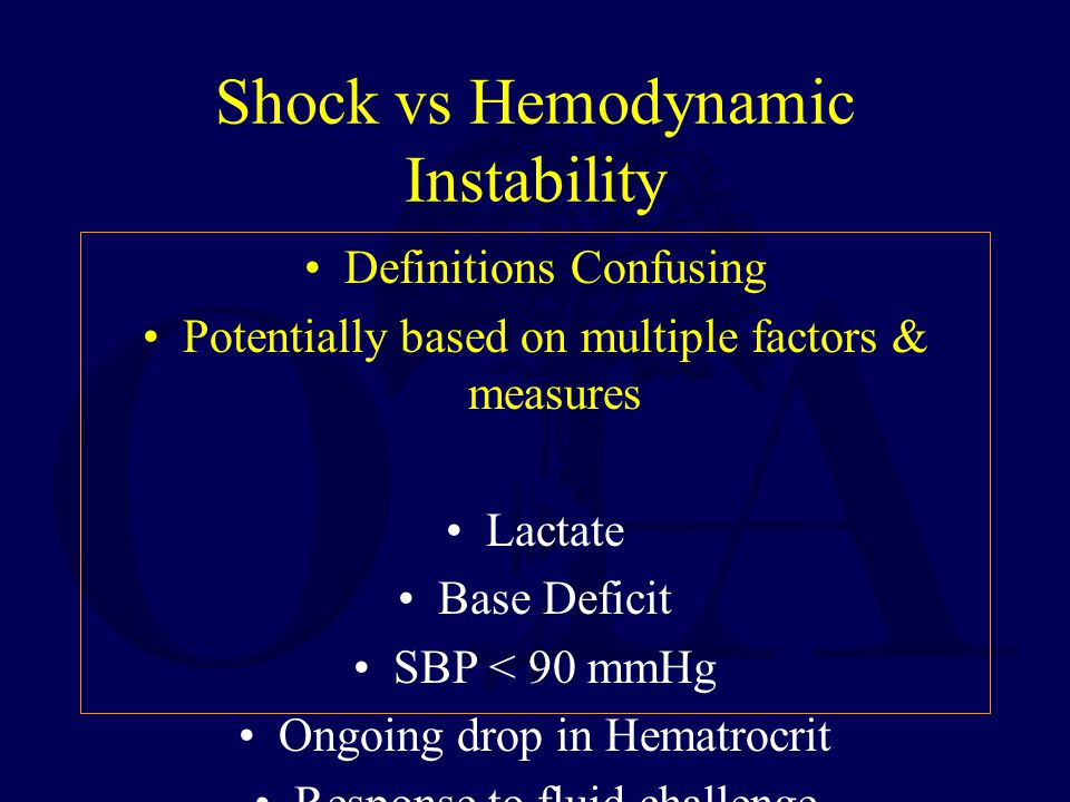Shock vs Hemodynamic Instability