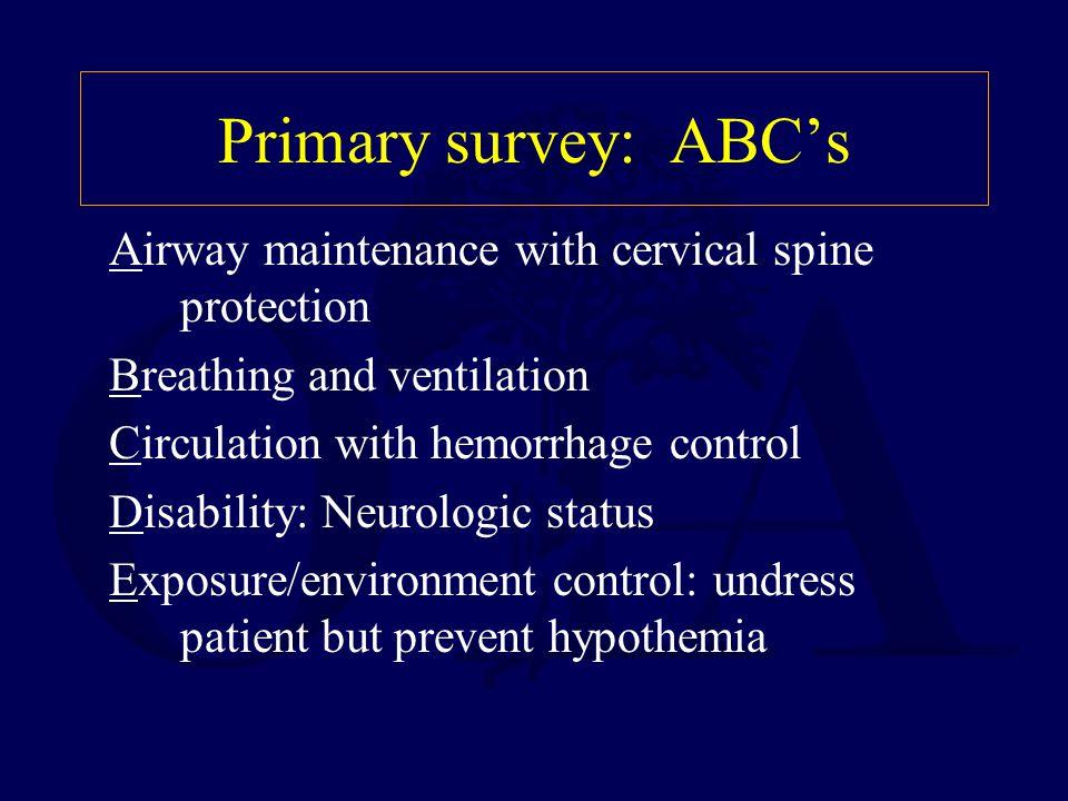 Primary survey: ABC's