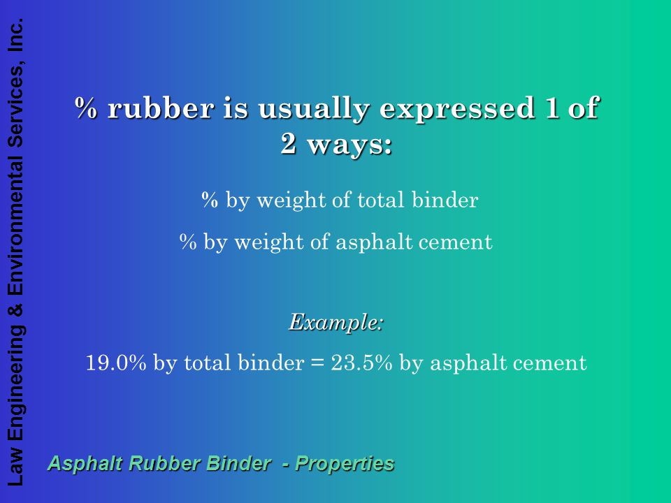 % rubber is usually expressed 1 of 2 ways: