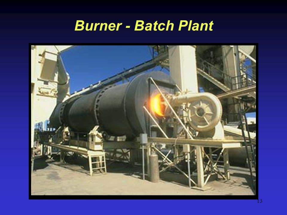 Burner - Batch Plant On a batch plant the aggregate moves to the burner end of the plant.