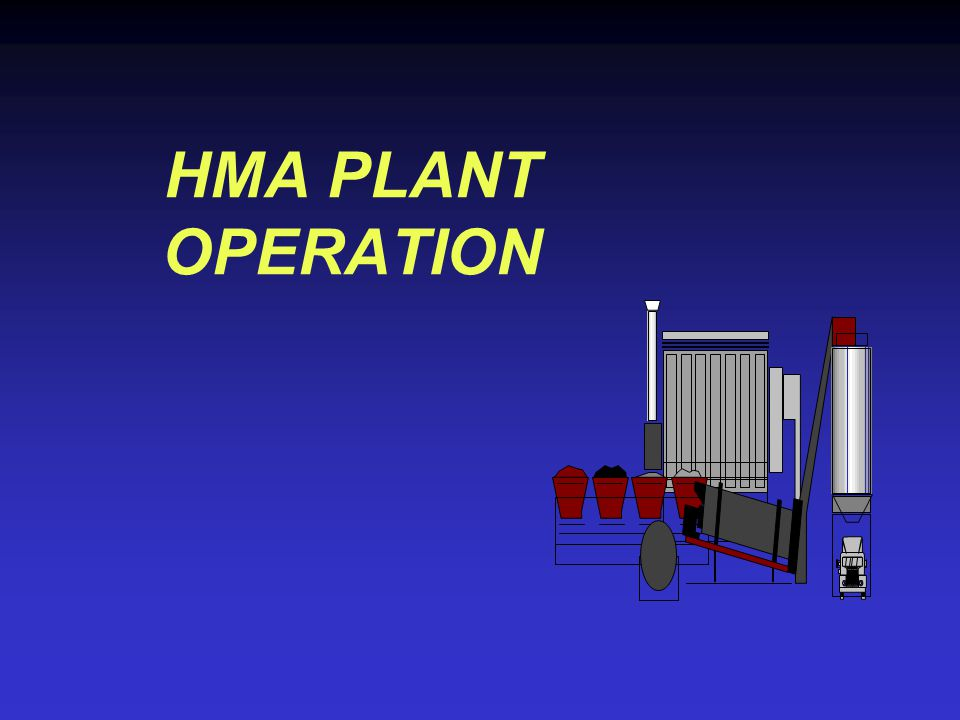 HMA PLANT OPERATION The block of instruction will cover the production of hot mix asphalt. At the end of this block the student will: