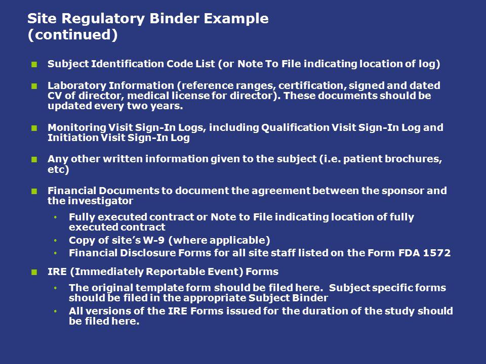 Site Regulatory Binder Example (continued)