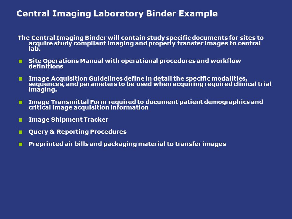 Central Imaging Laboratory Binder Example