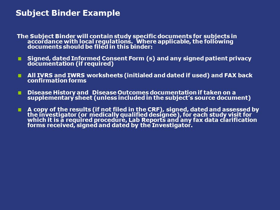 Subject Binder Example