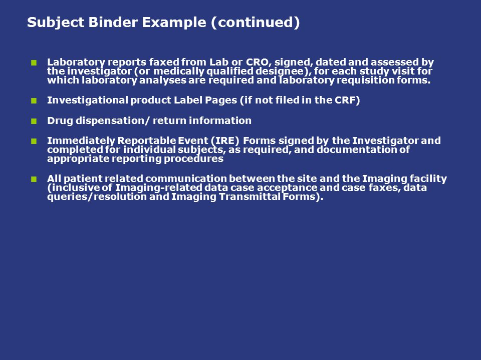 Subject Binder Example (continued)