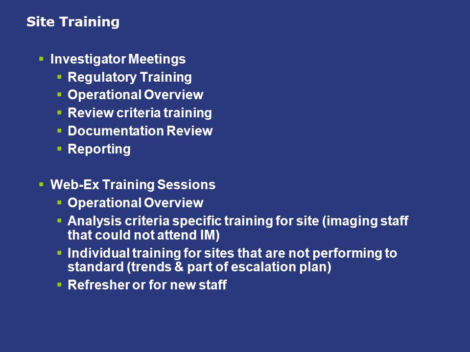 Site Training Investigator Meetings. Regulatory Training. Operational Overview. Review criteria training.