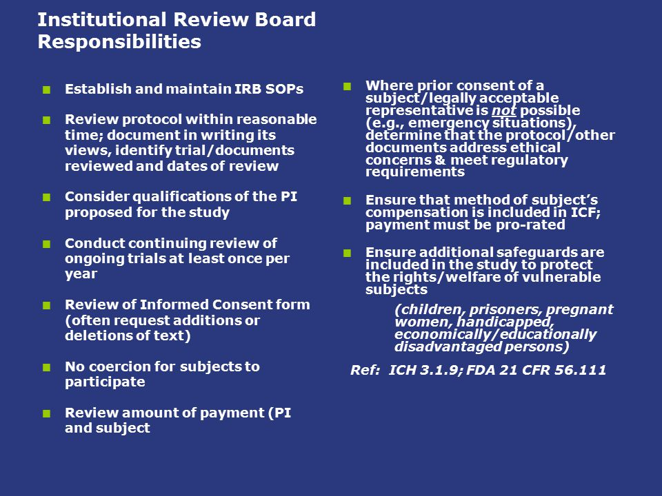 Institutional Review Board Responsibilities