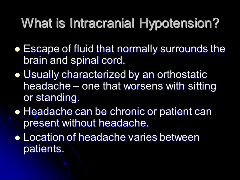 What is Intracranial Hypotension