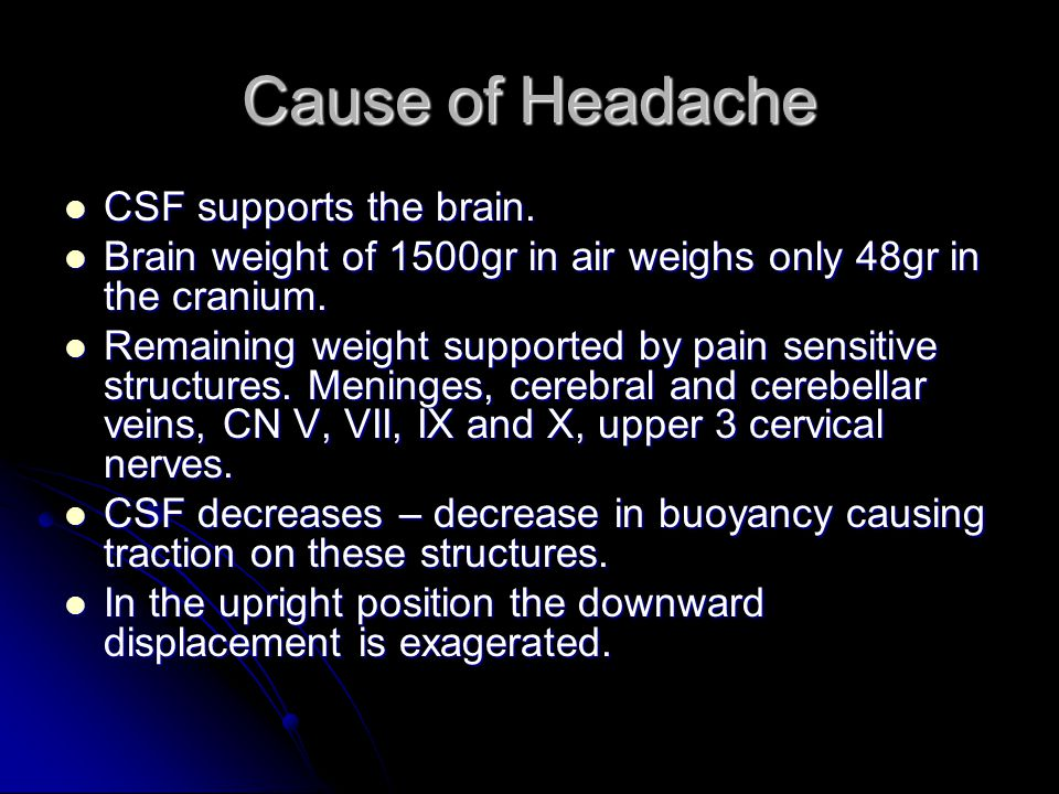 Cause of Headache CSF supports the brain.