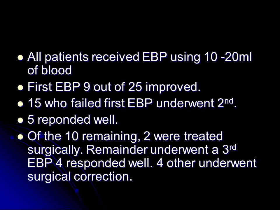 All patients received EBP using 10 -20ml of blood