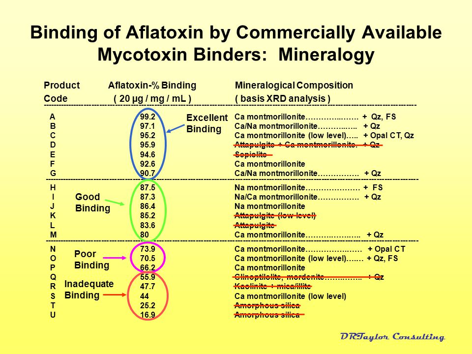 Binding of Aflatoxin by Commercially Available Mycotoxin Binders: Mineralogy
