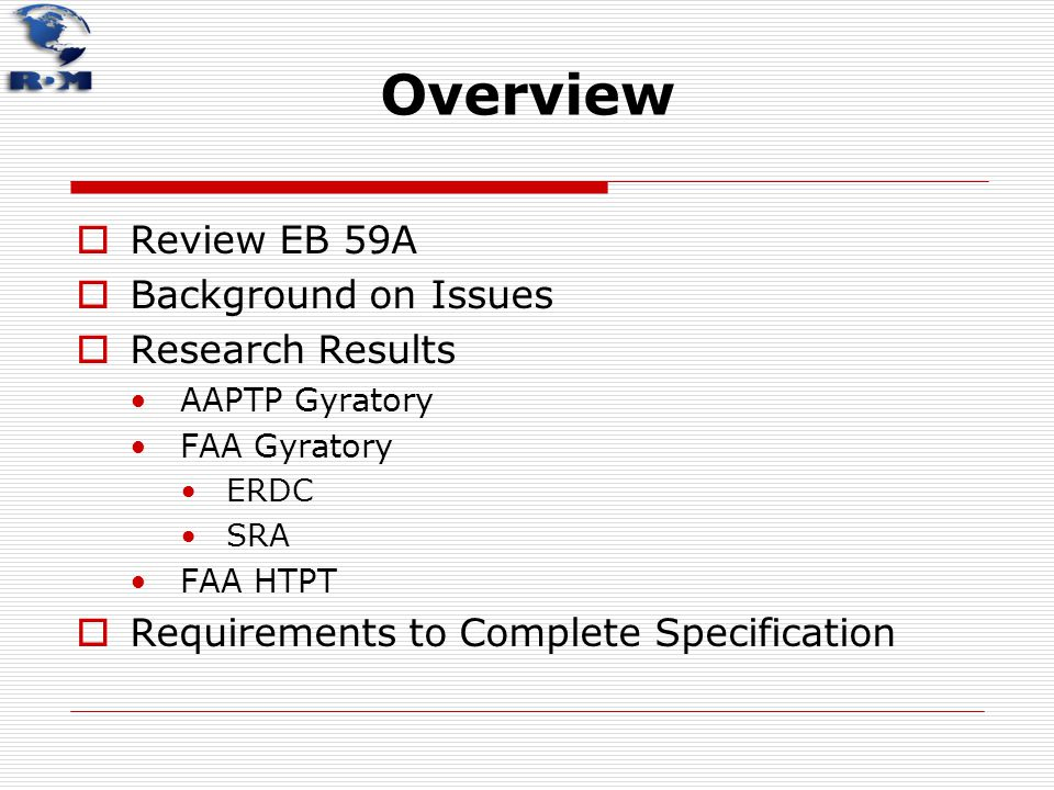 Overview Review EB 59A Background on Issues Research Results