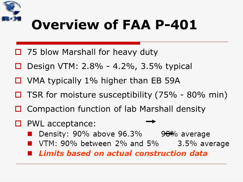 Overview of FAA P-401 75 blow Marshall for heavy duty