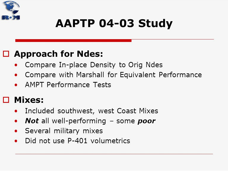 AAPTP 04-03 Study Approach for Ndes: Mixes: