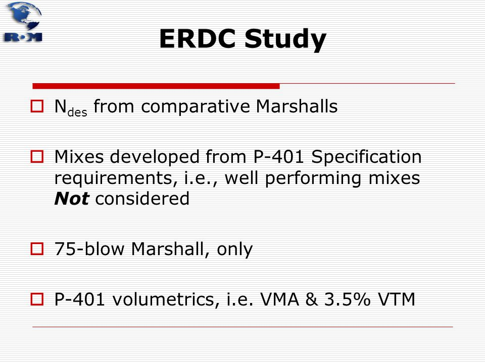 ERDC Study Ndes from comparative Marshalls