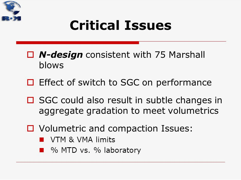 Critical Issues N-design consistent with 75 Marshall blows
