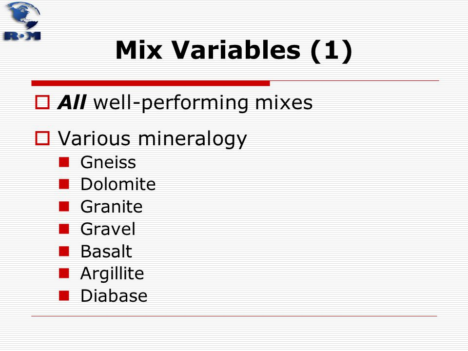 Mix Variables (1) All well-performing mixes Various mineralogy Gneiss
