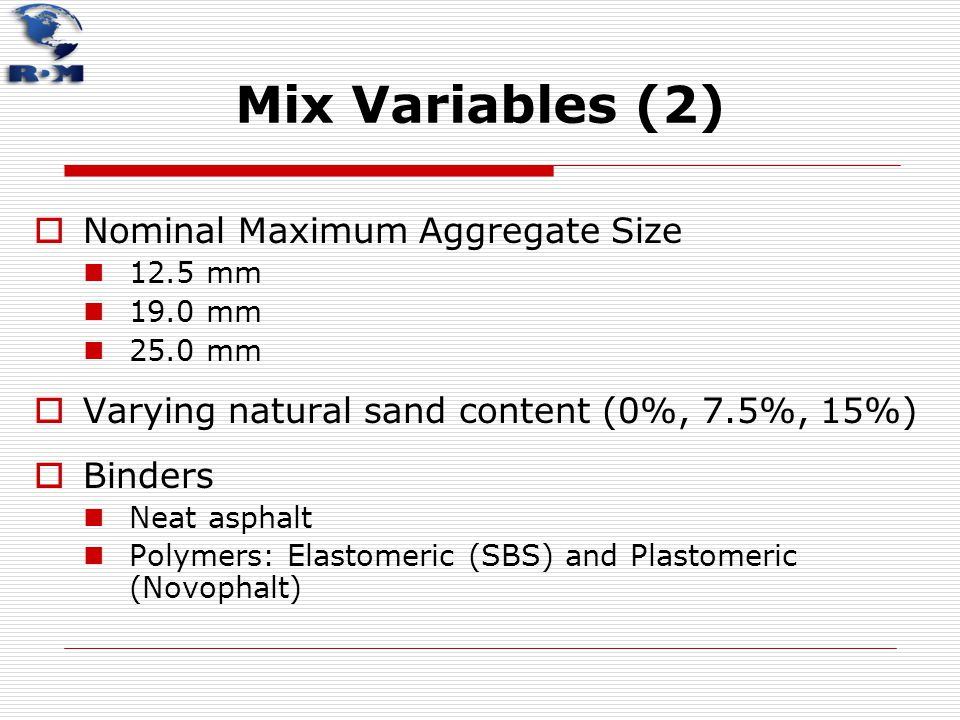 Mix Variables (2) Nominal Maximum Aggregate Size