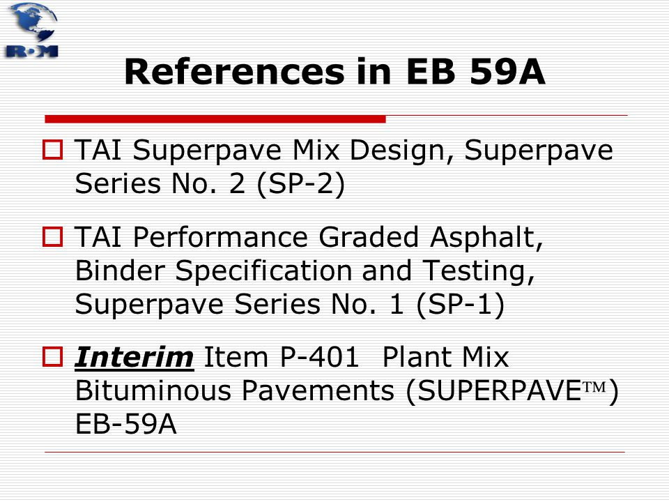 References in EB 59A TAI Superpave Mix Design, Superpave Series No. 2 (SP‑2)