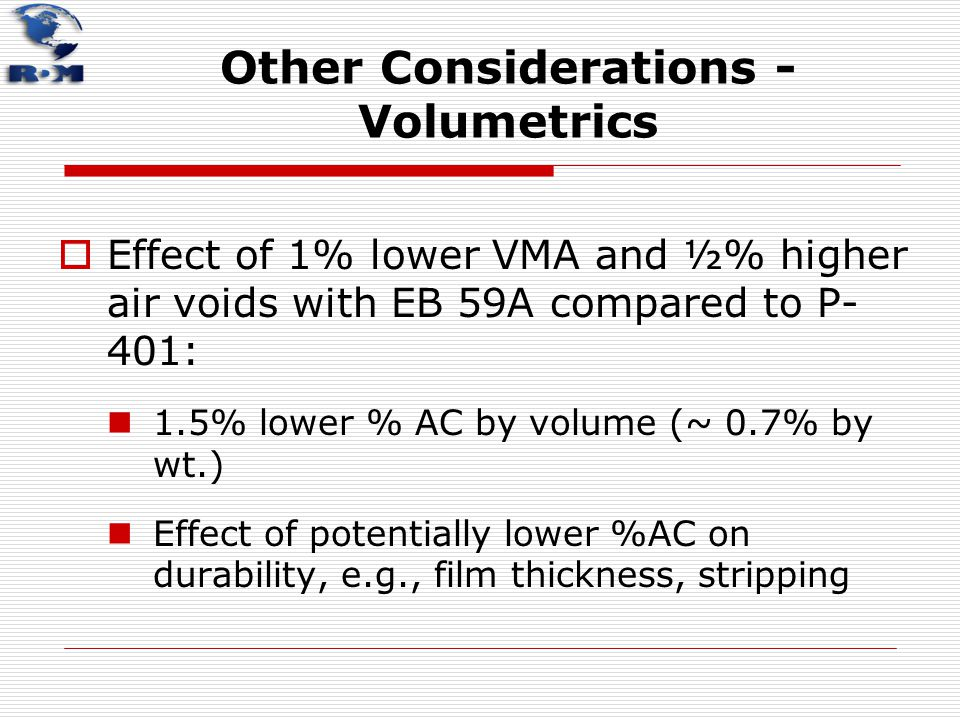 Other Considerations - Volumetrics